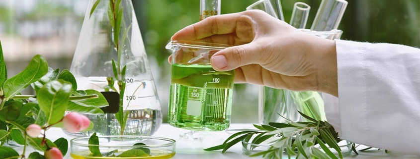 scientist using natural ingredients for skincare products